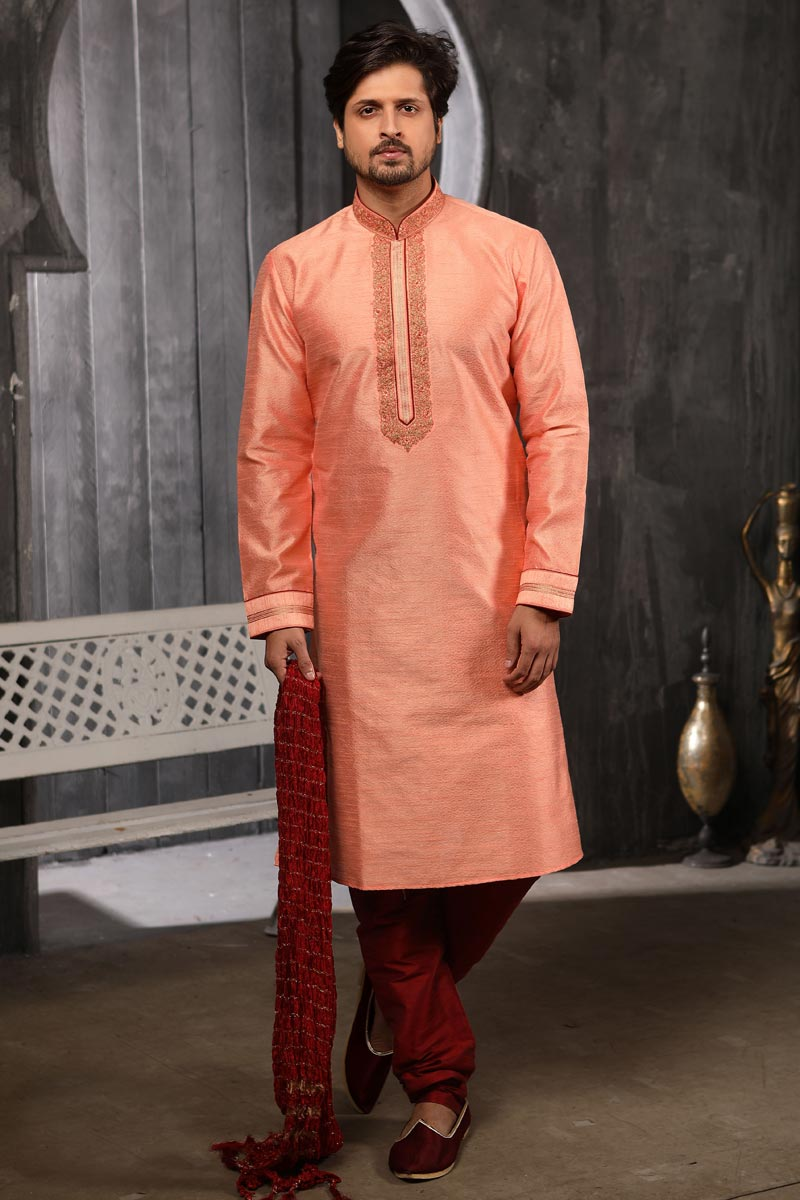 Peach Color Art Silk Fabric Function Wear Kurta Pyjama