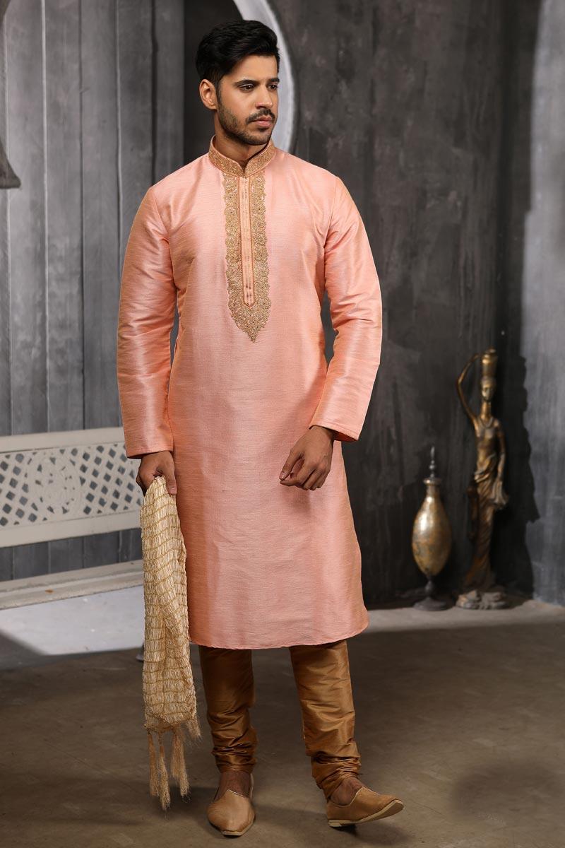 Art Silk Fabric Festive Wear Kurta Pyjama In Peach Color