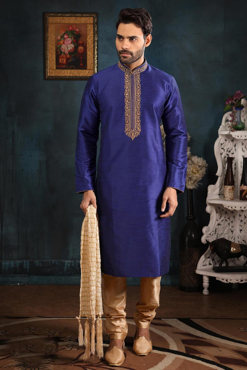 Festive Wear Mens Kurta Pyjama In Blue Color