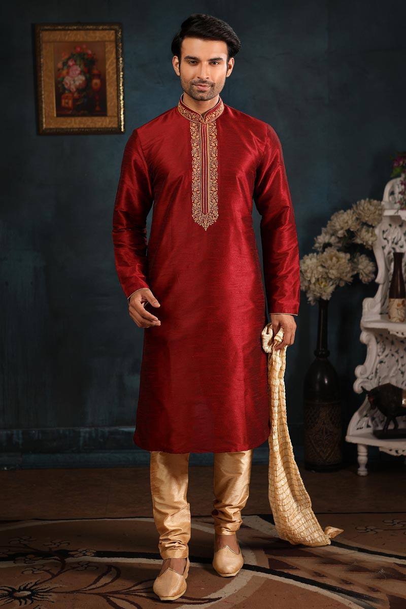 Mens Function Wear Maroon Color Art Silk Fabric Kurta Pyjama