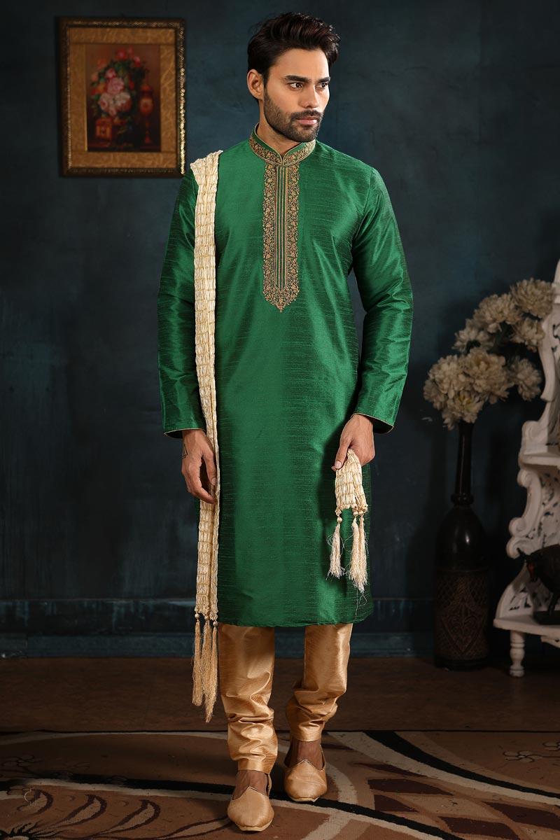 Function Wear Kurta Pyjama In Green Color For Men