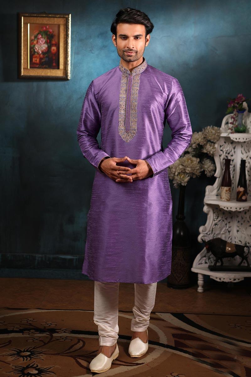Mens Function Wear Lavender Color Kurta Pyjama