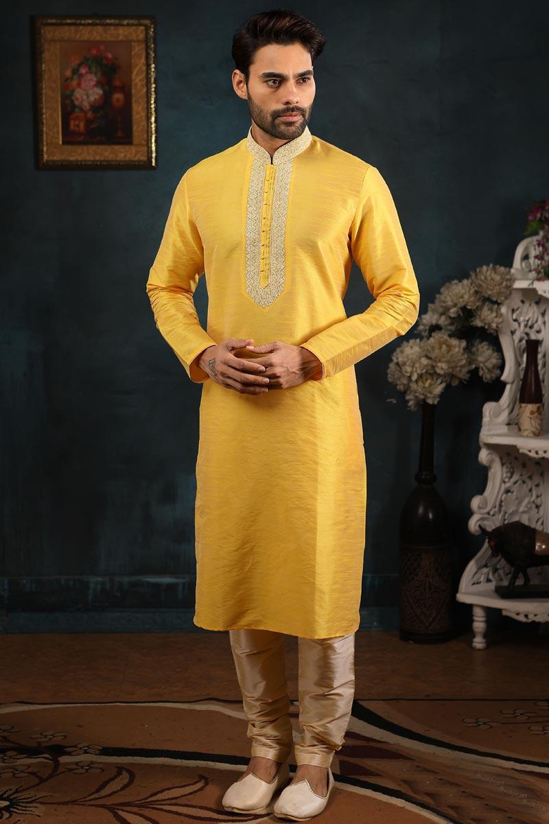 Yellow Color Function Wear Kurta Pyjama