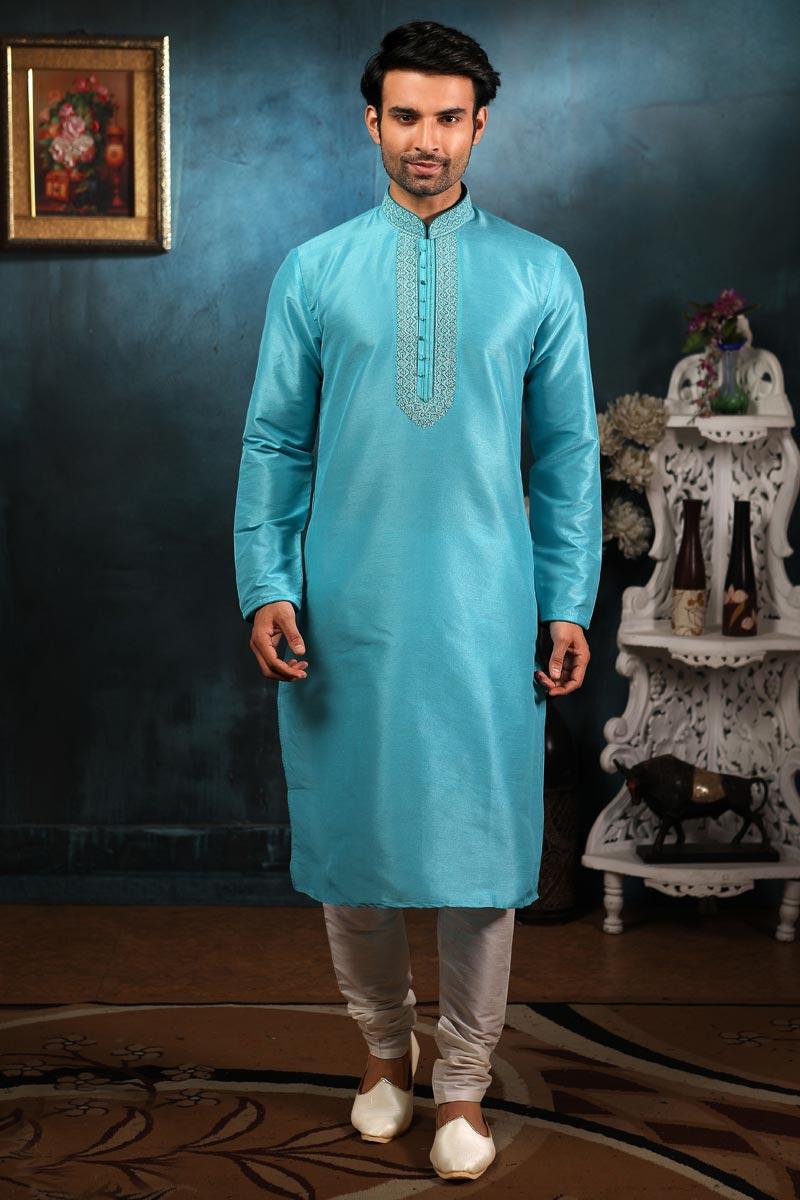 Reception Wear Fancy Art Silk Fabric Mens Wear Kurta Pyjama
