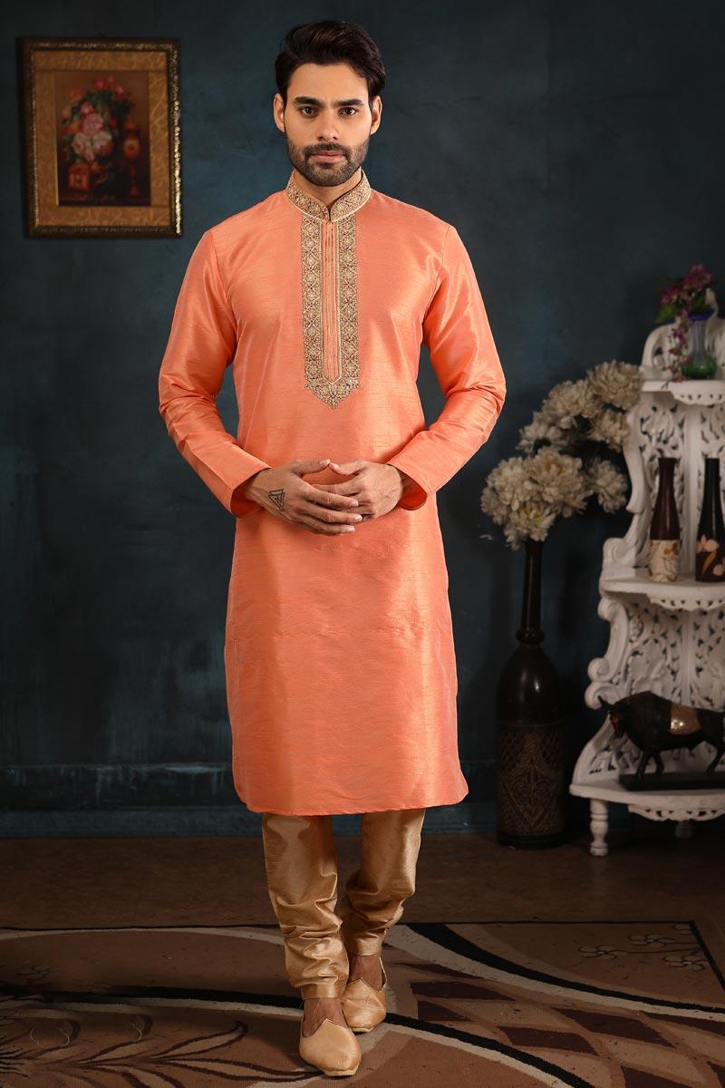 Function Wear Kurta Pyjama In Peach Color