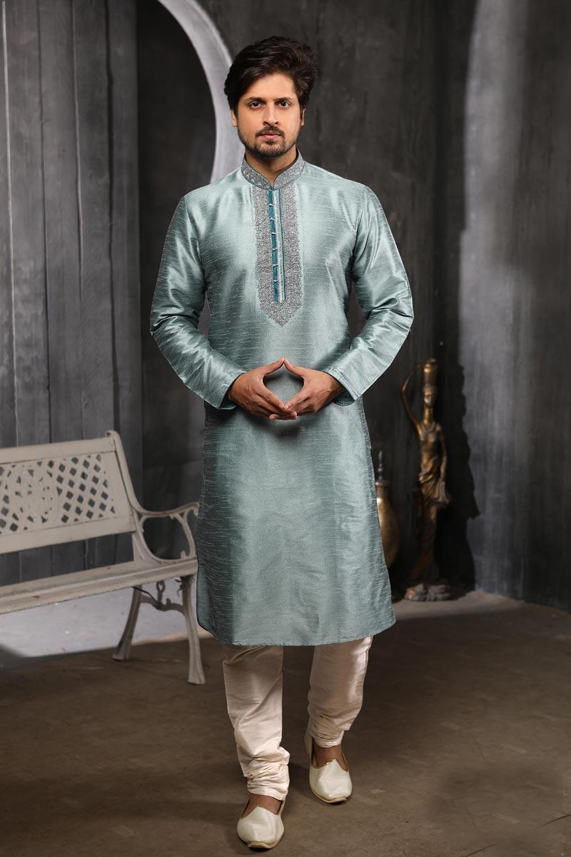 Sangeet Wear Art Silk Fabric Kurta Pyjama In Grey Color For Men