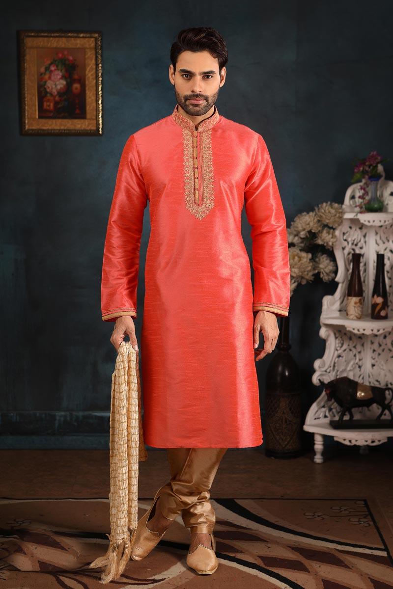 Fancy Art Silk Fabric Peach Color Function Wear Kurta Pyjama