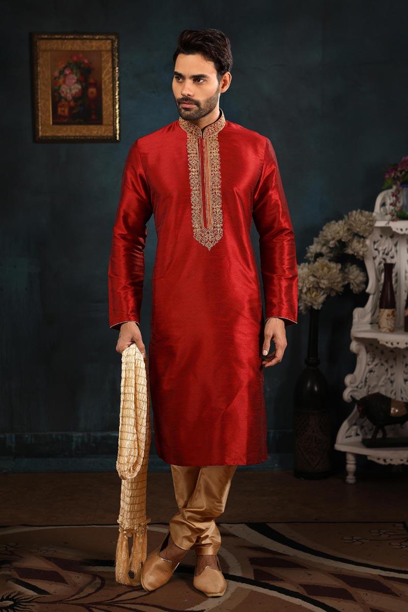 Mens Function Wear Art Silk Fabric Red Color Kurta Pyjama For Men
