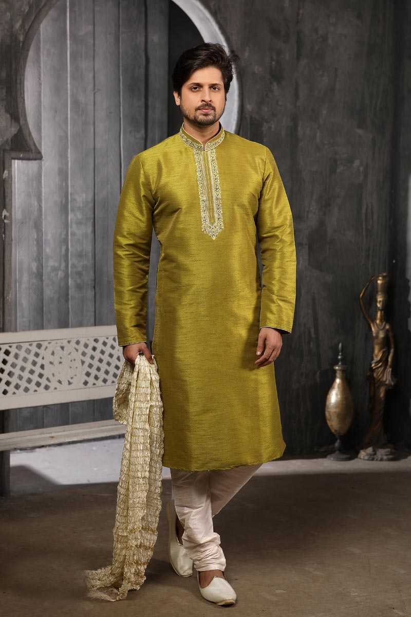 Mehendi Green Color Sangeet Wear Art Silk Fabric Kurta Pyjama