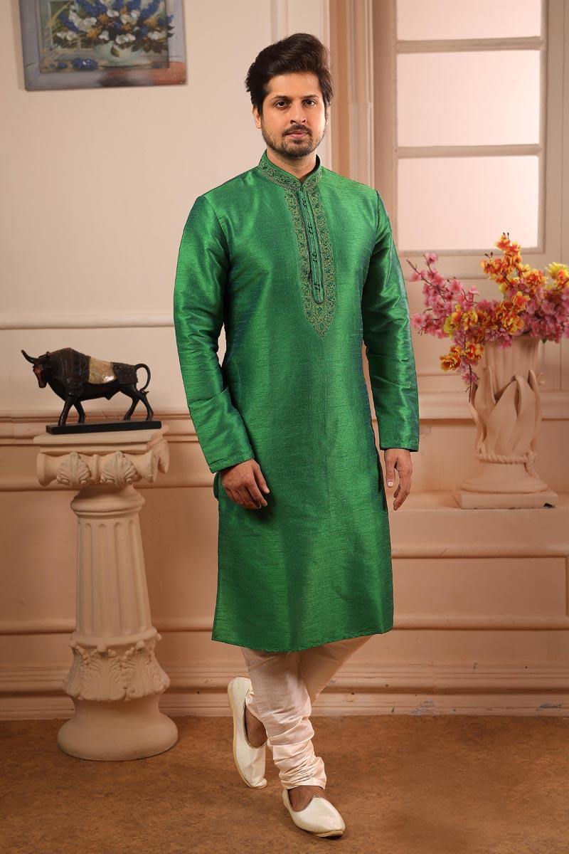 Art Silk Fabric Green Color Function Wear Kurta Pyjama