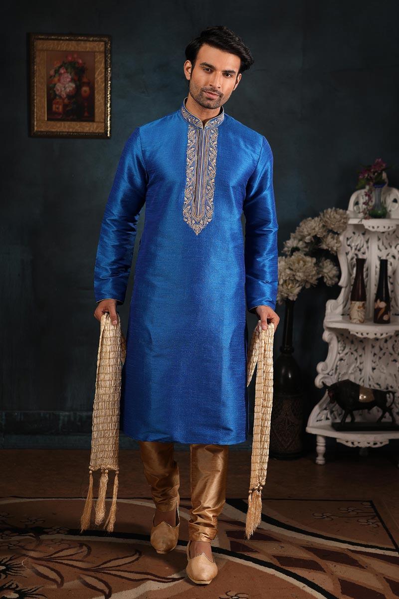 Blue Color Art Silk Fabric Designer Kurta Pyjama