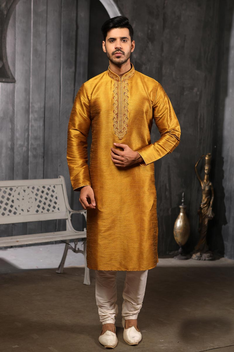 Mens Function Wear Art Silk Fabric Golden Color Stylish Kurta Pyjama