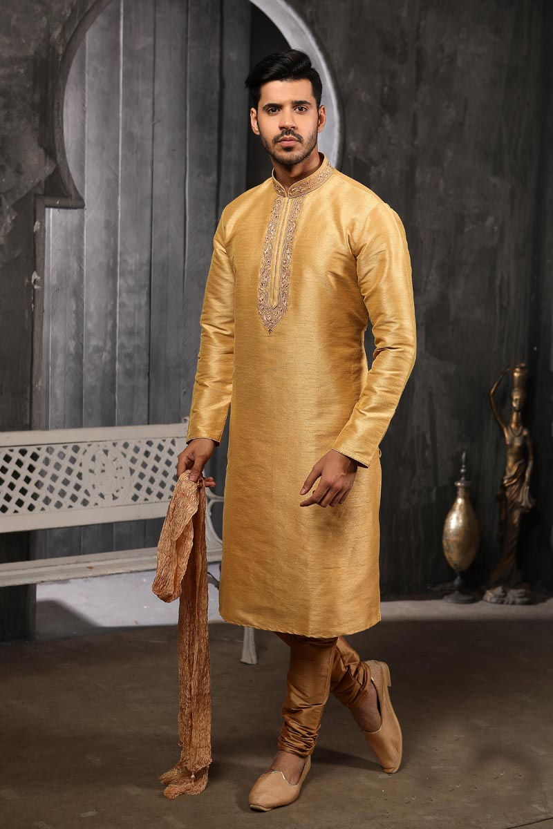 Mens Function Wear Art Silk Fabric Golden Color Trendy Kurta Pyjama