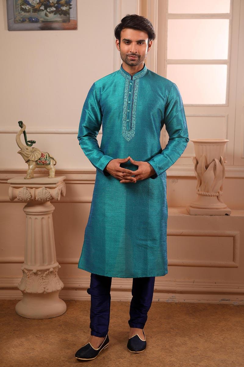 Cyan Color Art Silk Fabric Function Wear Kurta Pyjama