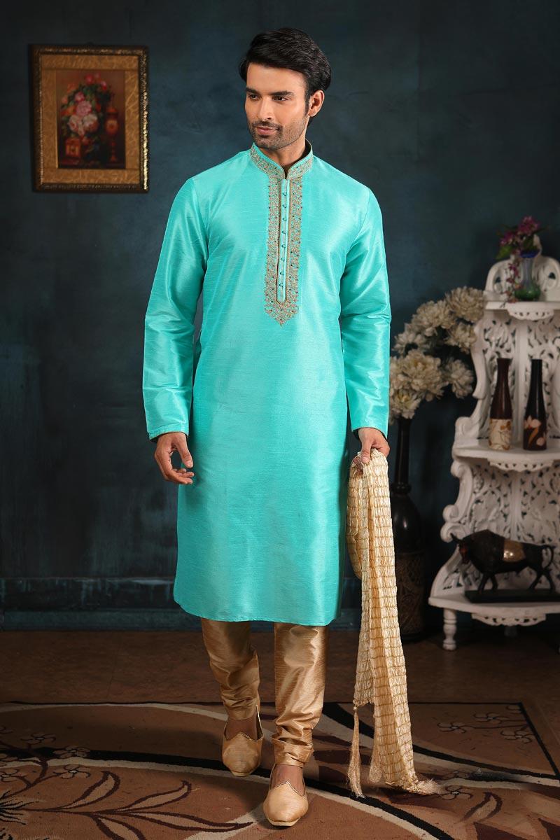 Art Silk Fabric Festive Wear Kurta Pyjama In Sea Green Color