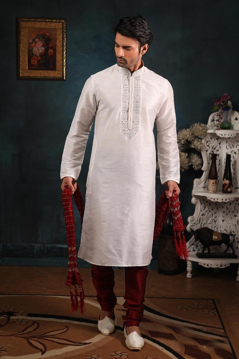 Off White Color Art Silk Fabric Function Wear Stylish Kurta Pyjama