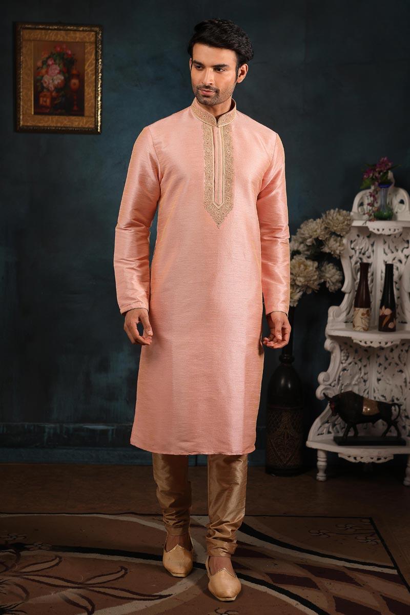 Art Silk Fabric Sangeet Wear Kurta Pyjama In Peach Color For Men