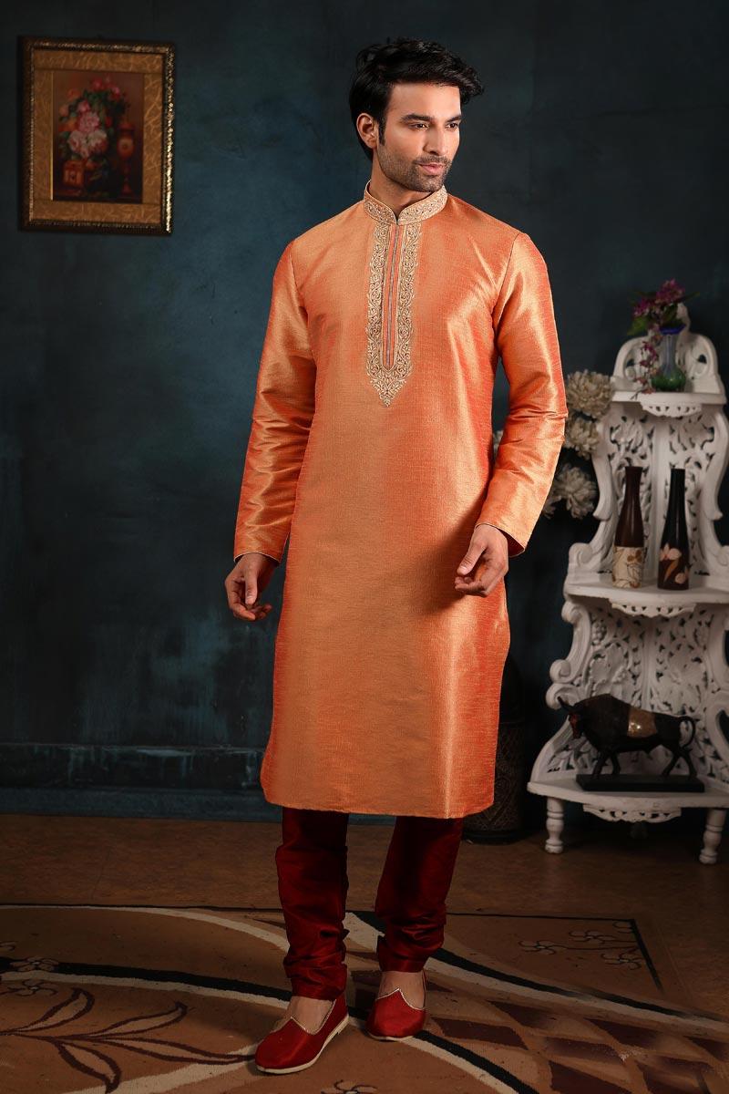 Orange Color Function Wear Art Silk Fabric Kurta Pyjama