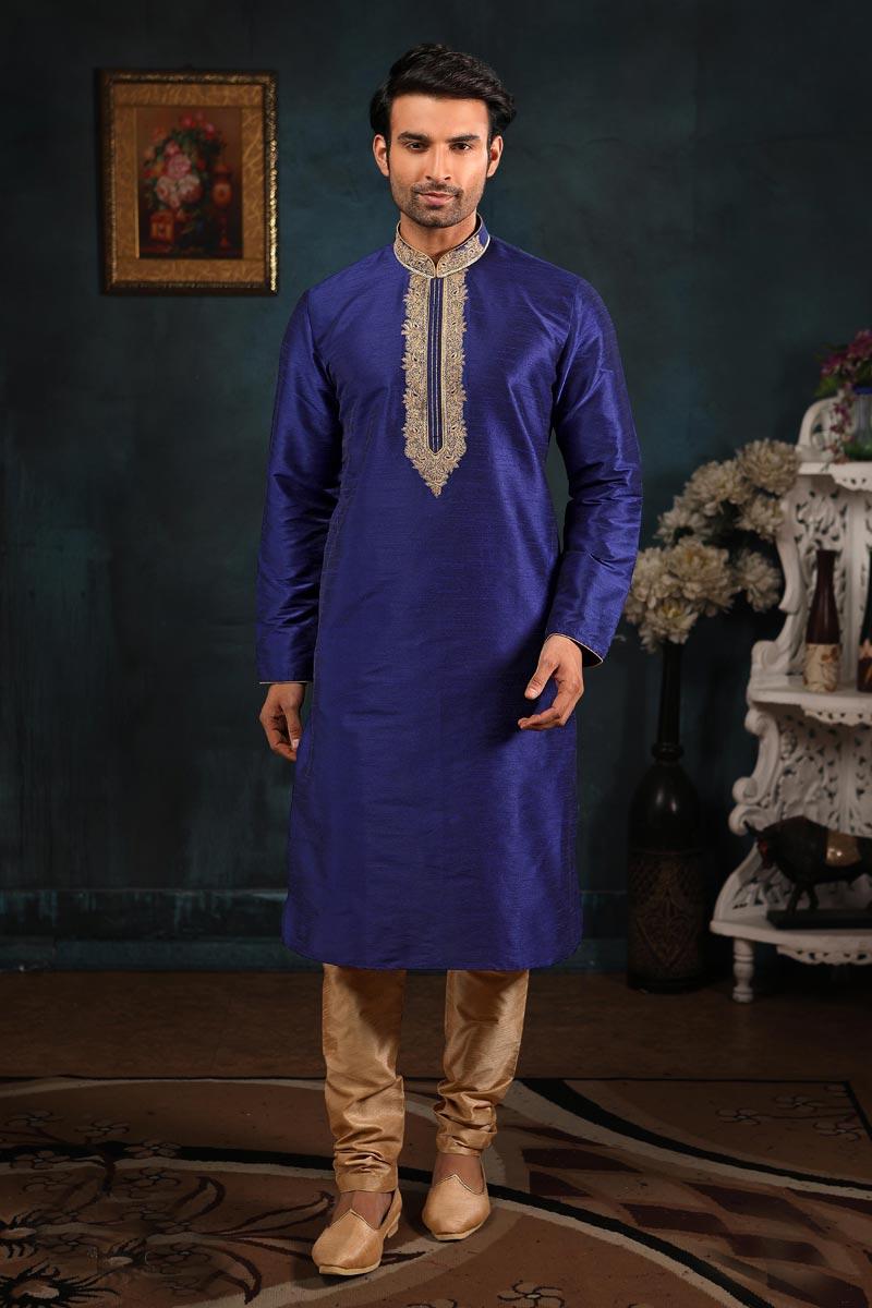 Function Wear Kurta Pyjama In Blue Color For Men