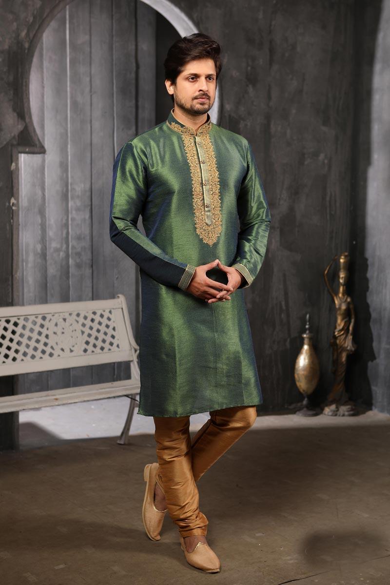 Mens Function Wear Green Color Fancy Art Silk Fabric Kurta Pyjama