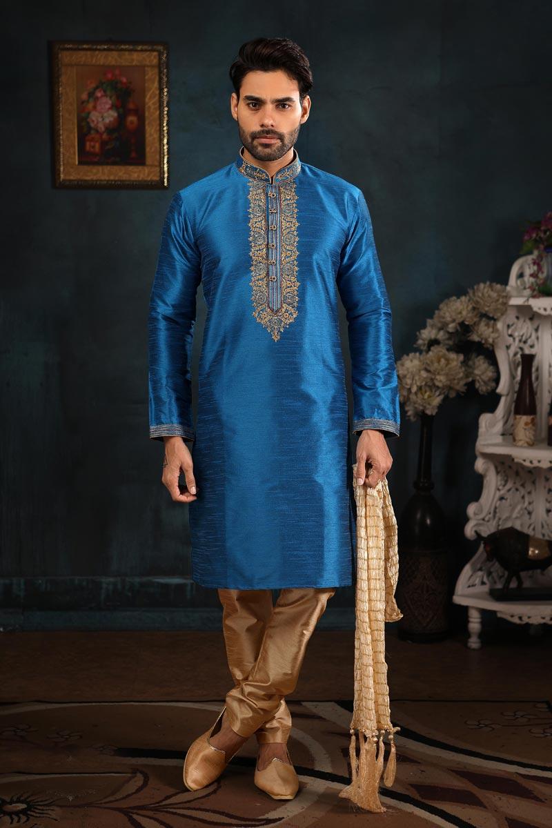 Sky Blue Color Function Wear Fancy Kurta Pyjama