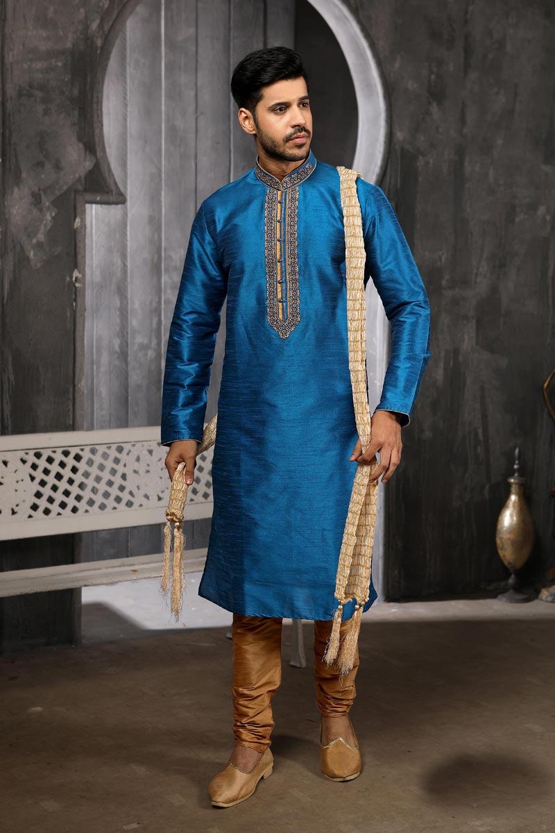 Mens Function Wear Sky Blue Color Art Silk Fabric Designer Kurta Pyjama