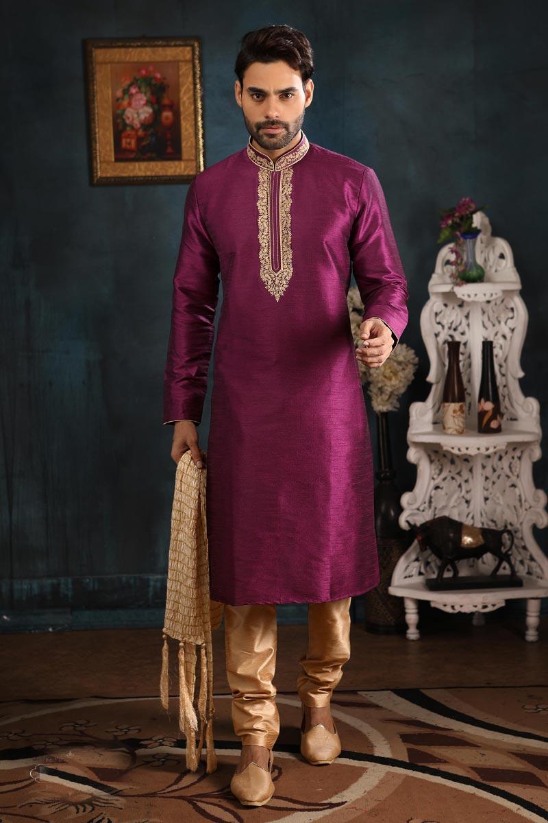 Function Wear Kurta Pyjama In Purple Color
