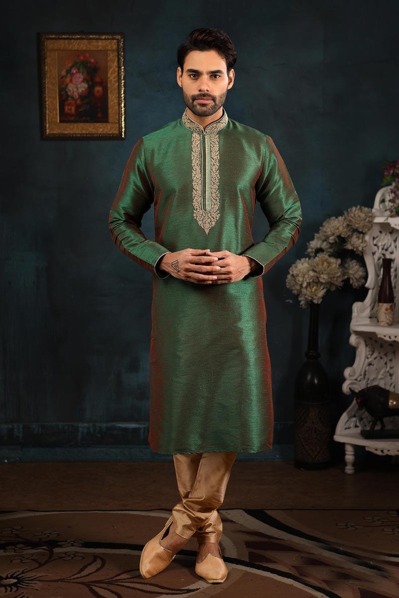 Mens Function Wear Green Color Fancy Kurta Pyjama In Art Silk Fabric