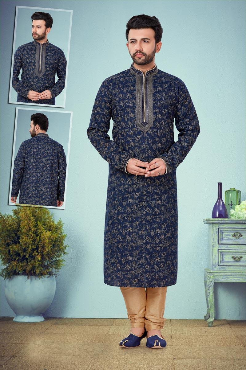 Function Wear Designer Kurta Pyjama In Navy Blue Color For Men