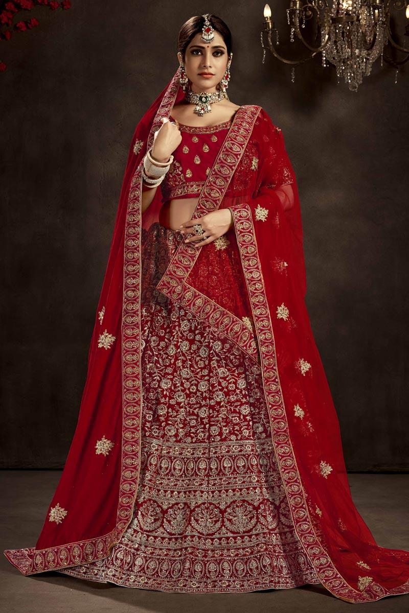 Embroidered Red Color Bridal Wear Designer Lehenga Choli