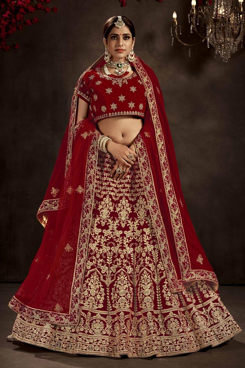Maroon Color Velvet Fabric Bridal Wear Designer Lehenga Choli