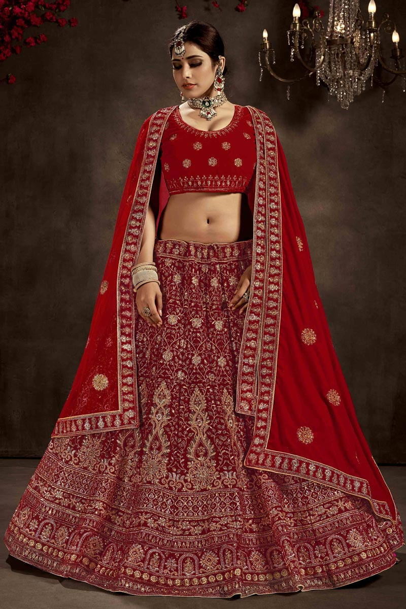 Velvet Fabric Red Color Bridal Wear 3 Piece Designer Lehenga Choli