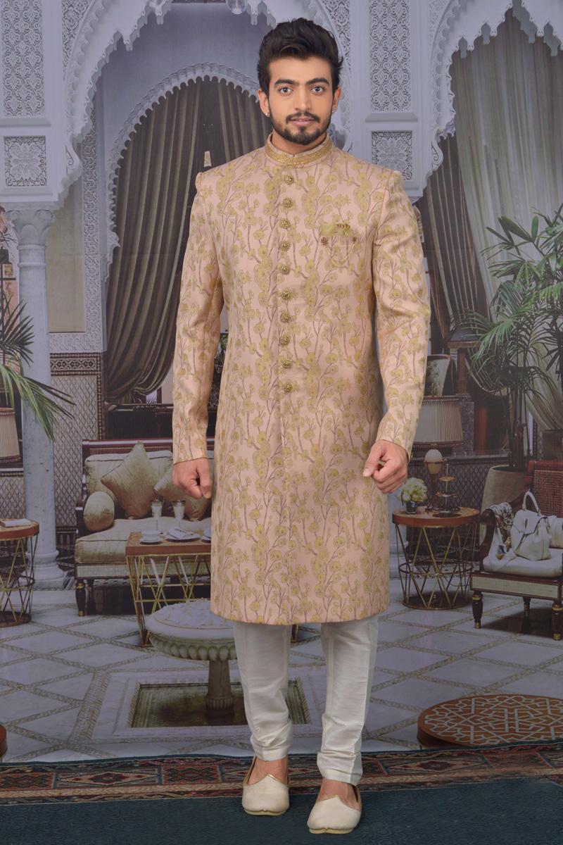 Peach Color Jacquard Fabric Function Wear Designer Indo Western For Men