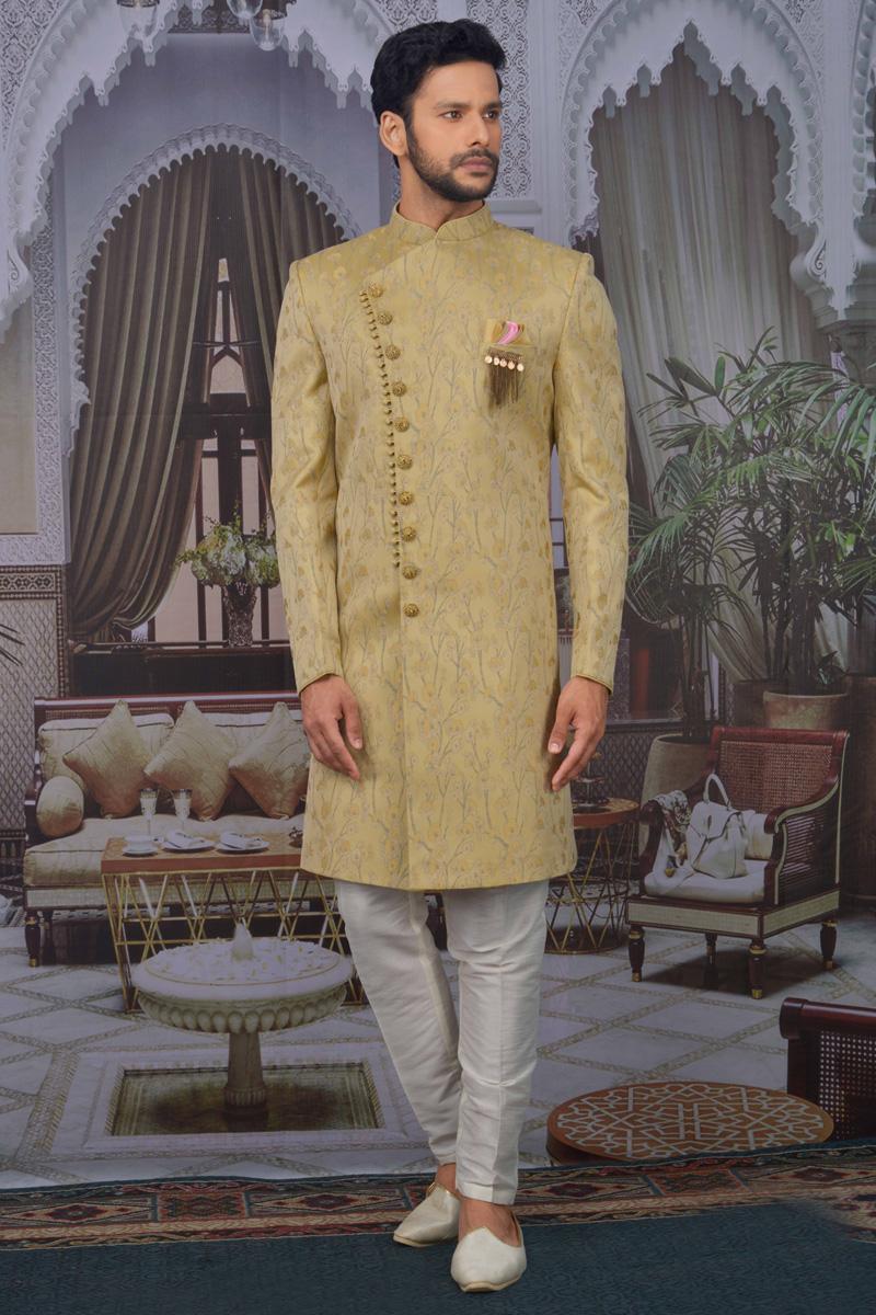 Beige Color Jacquard Fabric Sangeet Wear Designer Indo Western For Men