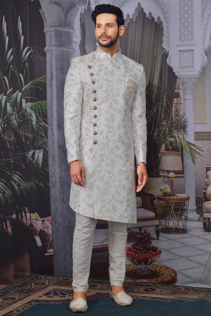 Off White Color Jacquard Fabric Wedding Wear Designer Indo Western For Men