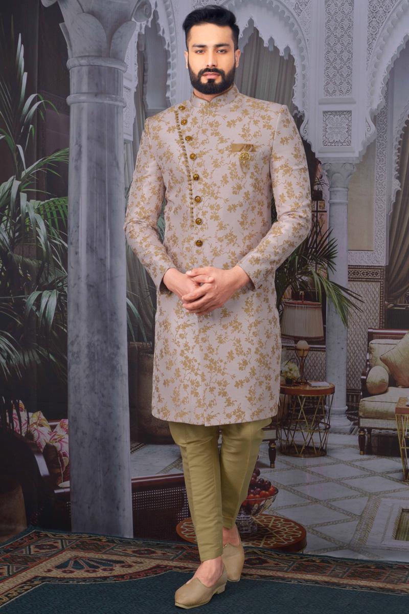 Pink Color Jacquard Fabric Reception Wear Designer Indo Western For Men