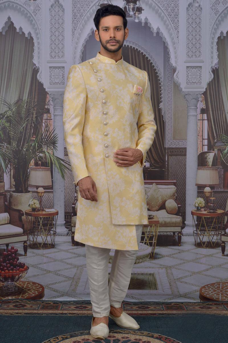 Yellow Color Jacquard Fabric Sangeet Wear Designer Indo Western For Men