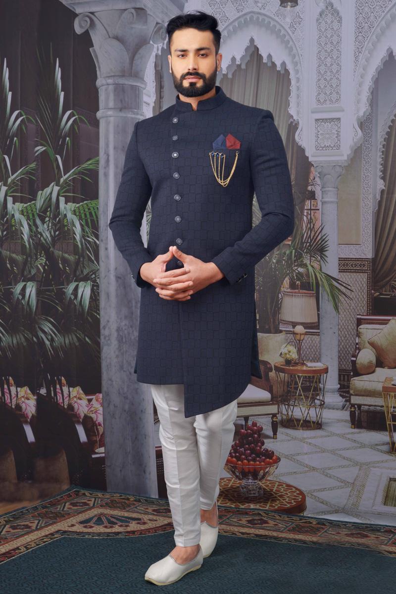 Navy Blue Color Jacquard Fabric Reception Wear Designer Indo Western For Men