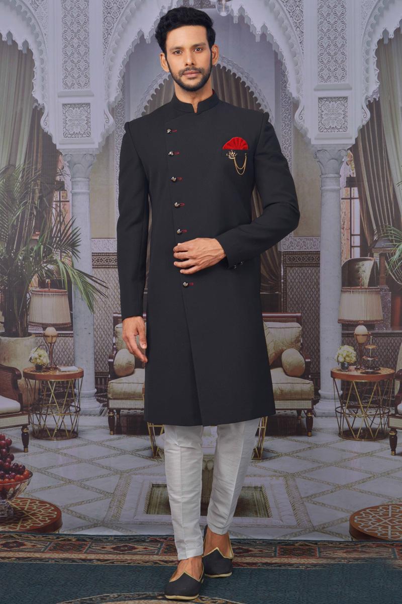 Black Color Jacquard Fabric Wedding Wear Designer Indo Western For Men