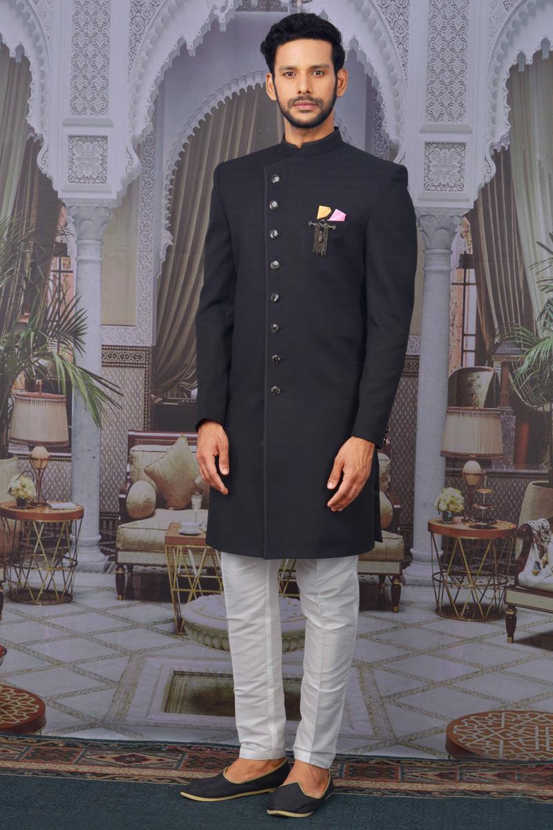 Black Color Function Wear Designer Indo Western For Men