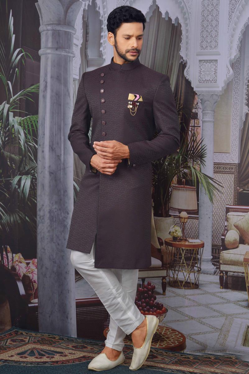 Wine Color Jacquard Fabric Sangeet Wear Designer Indo Western For Men