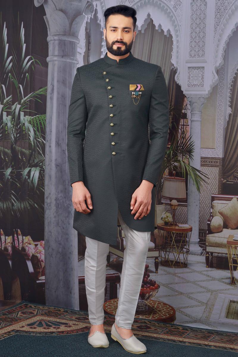 Dark Green Color Jacquard Fabric Wedding Wear Designer Indo Western For Men