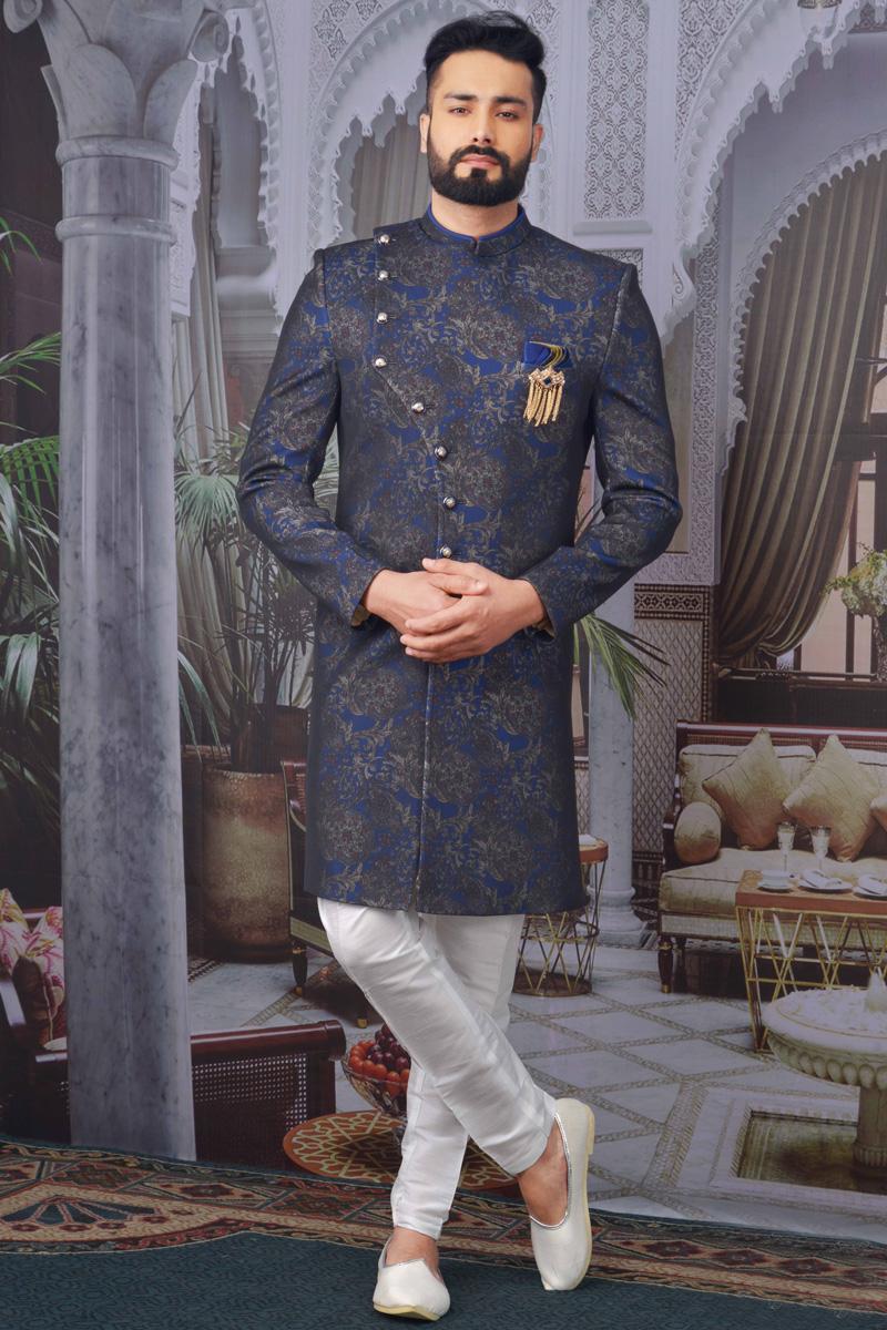 Navy Blue Color Jacquard Fabric Designer Indo Western For Men