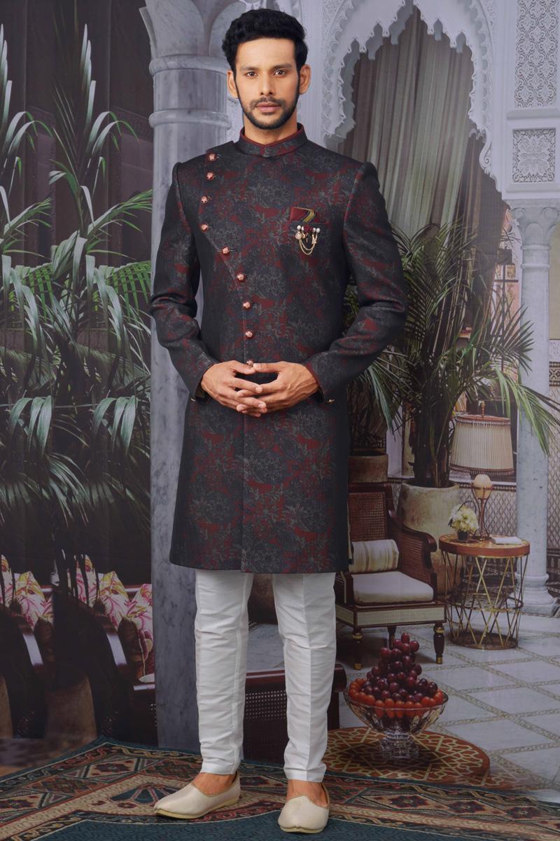Wine Color Jacquard Fabric Function Wear Designer Indo Western For Men