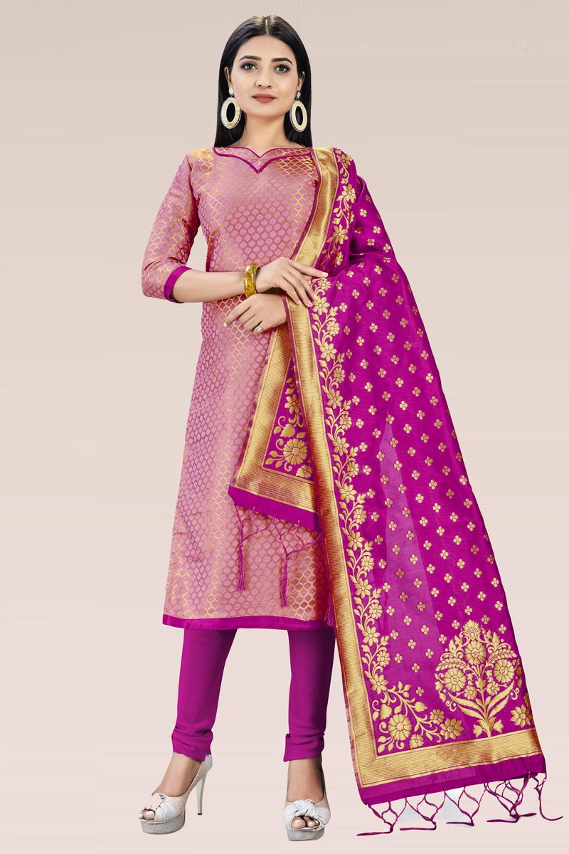 Pink Color Casual Wear Fancy Weaving Work Banarasi Silk Fabric Salwar Suit