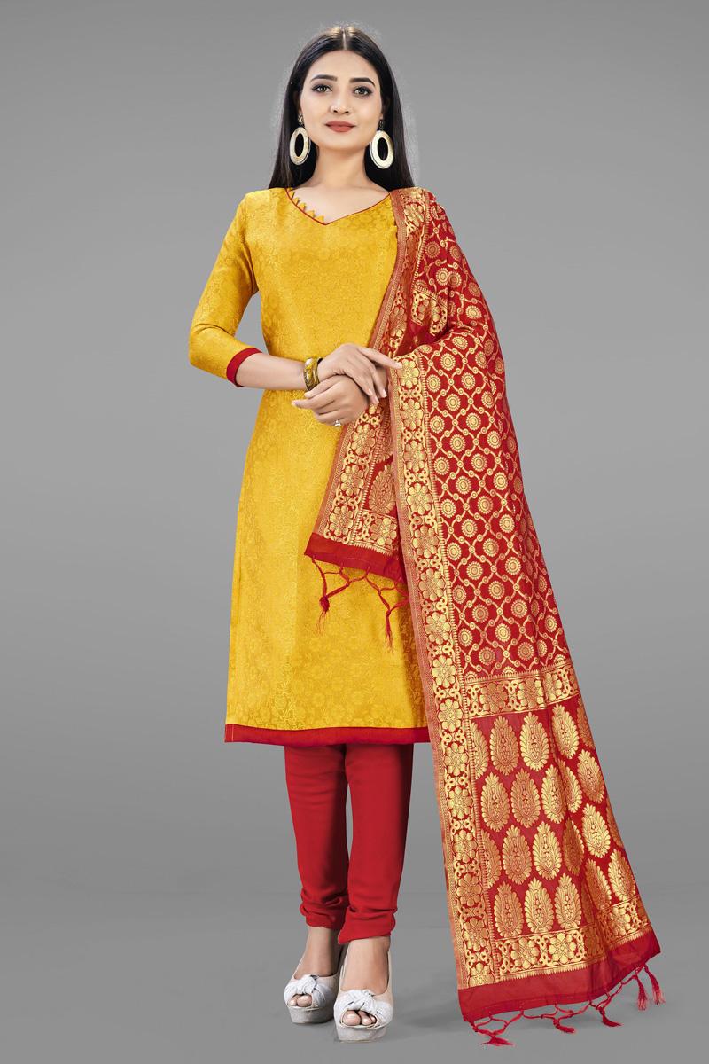 Yellow Color Casual Wear Fancy Weaving Work Banarasi Silk Fabric Salwar Kameez