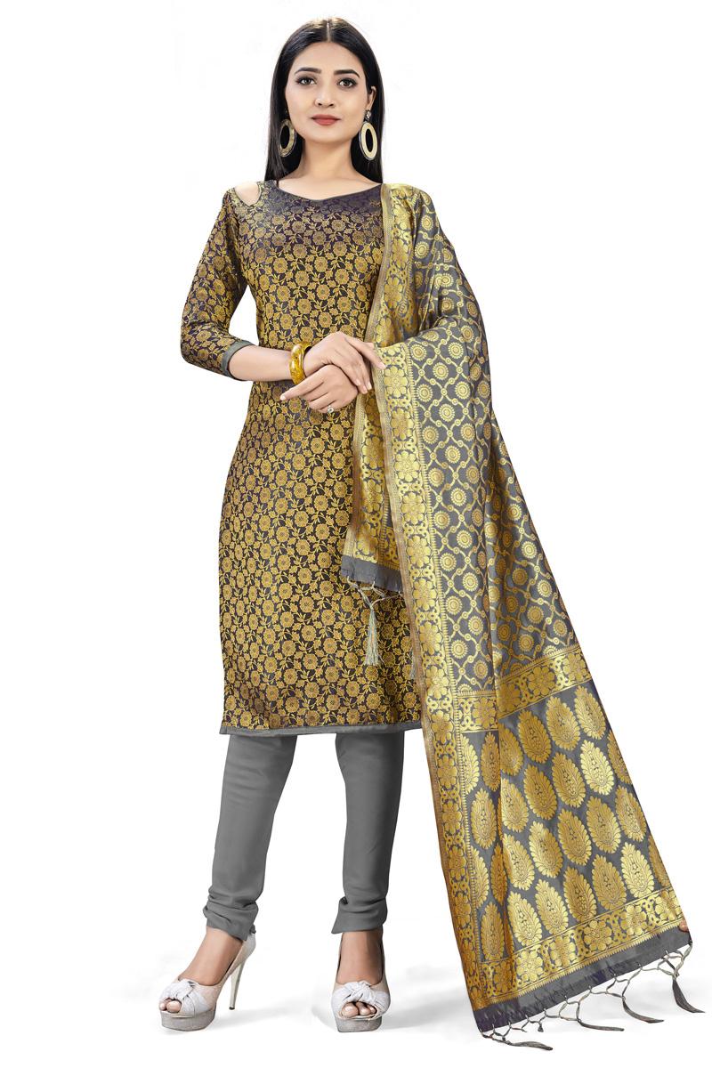 Banarasi Silk Fabric Casual Wear Black Color Fancy Weaving Work Salwar Suit