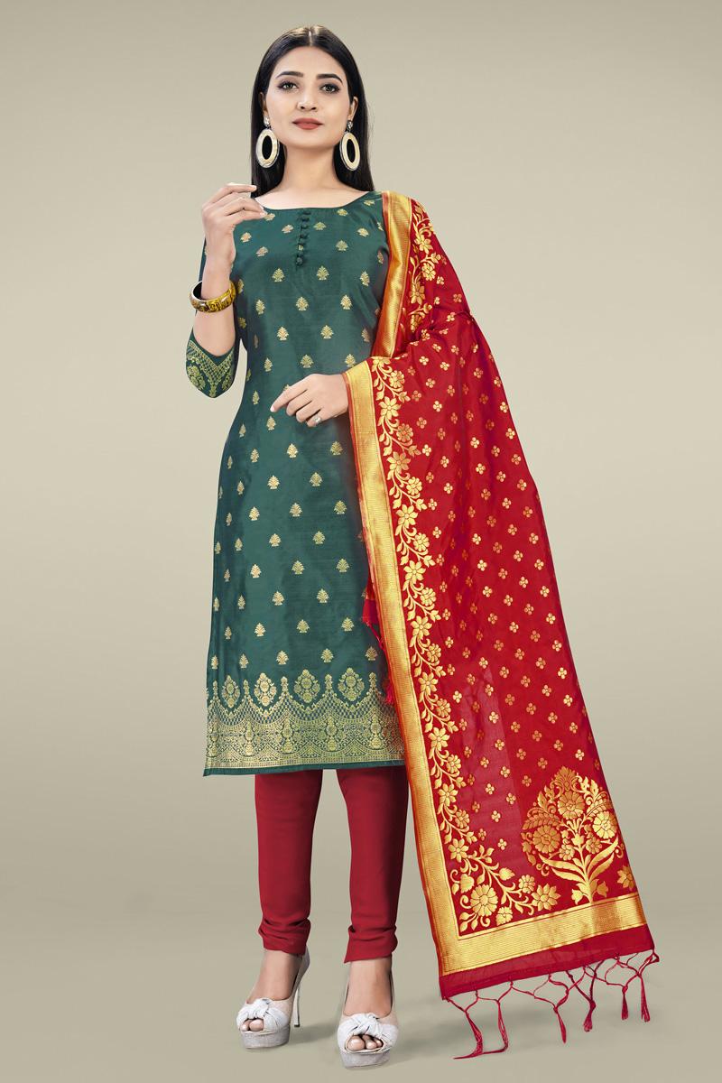 Mehendi Green Color Banarasi Silk Fabric Casual Wear Fancy Weaving Work Salwar Kameez