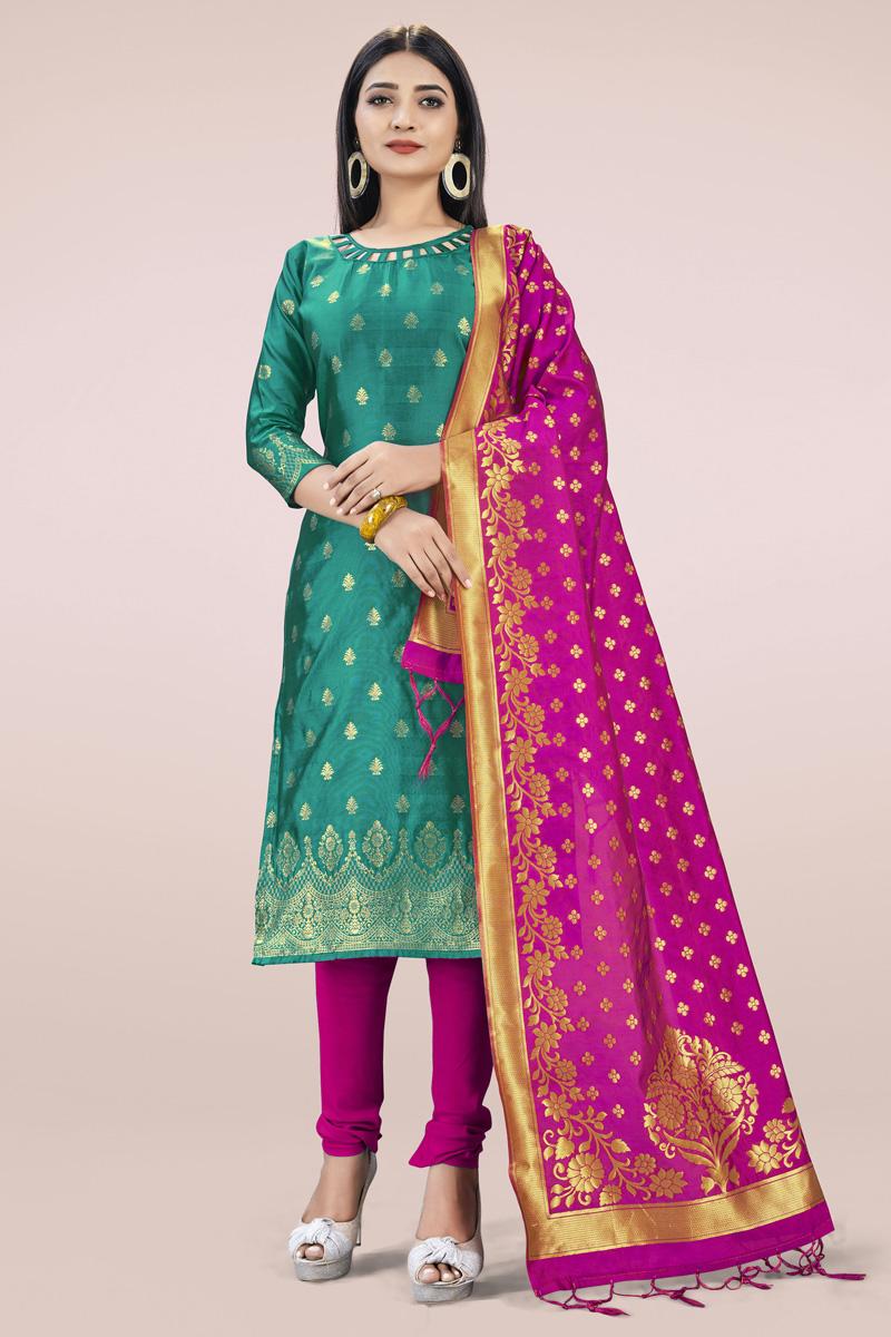 Banarasi Silk Fabric Casual Wear Fancy Weaving Work Salwar Kameez In Cyan Color