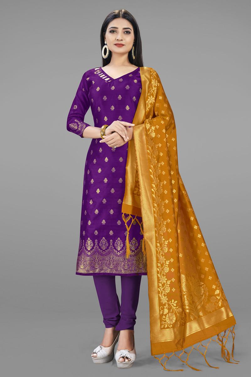 Casual Wear Banarasi Silk Fabric Purple Color Fancy Weaving Work Salwar Suit